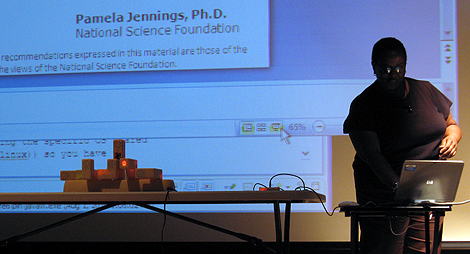 Pamela Jennings presenting a physical model construction kit