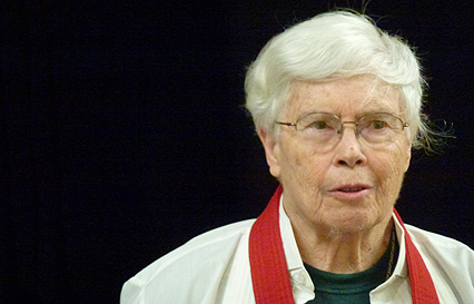Pauline Oliveros delivering the dinner speech