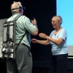 Peter Tuddenham and Pille Bunell experiencing Jennifer Kanary's Wearable Psychosis Simulator