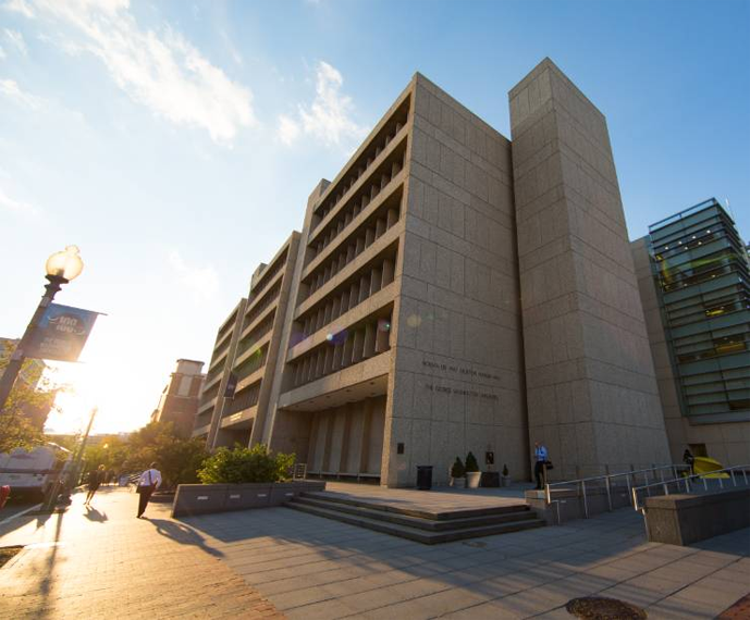 The GWU School of Business has two main buildings, which are connected: Funger Hall, shown here, and a newer Building, which is the glass part to the right.