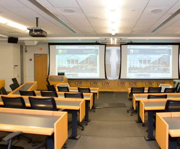 A classroom is in Duques Hall.